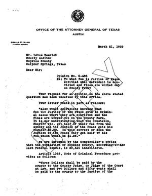 Primary view of object titled 'Texas Attorney General Opinion: O-483'.