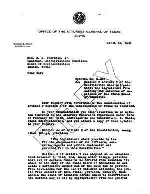 Primary view of object titled 'Texas Attorney General Opinion: O-495'.