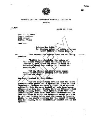 Primary view of object titled 'Texas Attorney General Opinion: O-500'.