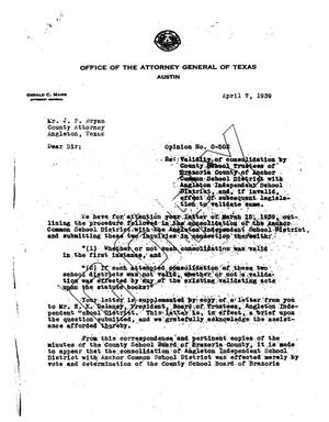 Primary view of object titled 'Texas Attorney General Opinion: O-502'.