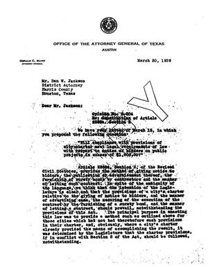 Primary view of object titled 'Texas Attorney General Opinion: O-504'.