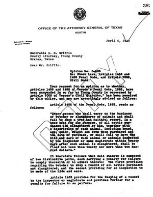 Primary view of object titled 'Texas Attorney General Opinion: O-508'.