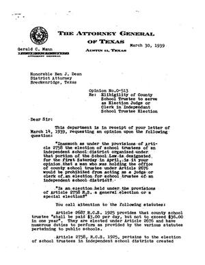 Primary view of object titled 'Texas Attorney General Opinion: O-513'.