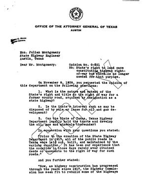 Primary view of object titled 'Texas Attorney General Opinion: O-521'.