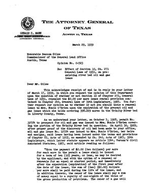 Primary view of object titled 'Texas Attorney General Opinion: O-523'.
