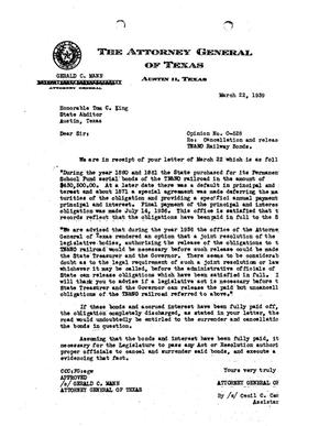 Primary view of object titled 'Texas Attorney General Opinion: O-528'.