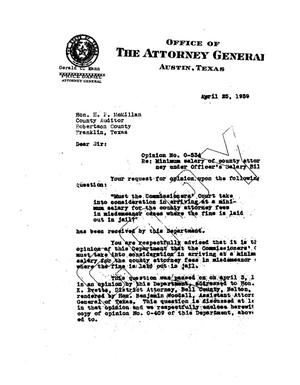 Primary view of object titled 'Texas Attorney General Opinion: O-534'.