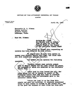 Primary view of object titled 'Texas Attorney General Opinion: O-539'.
