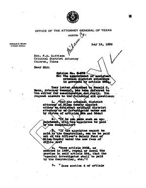 Primary view of object titled 'Texas Attorney General Opinion: O-572'.