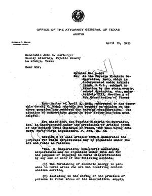 Primary view of object titled 'Texas Attorney General Opinion: O-587'.