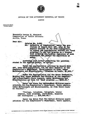 Primary view of object titled 'Texas Attorney General Opinion: O-591'.