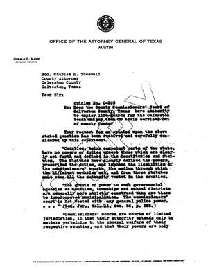 Primary view of object titled 'Texas Attorney General Opinion: O-595'.