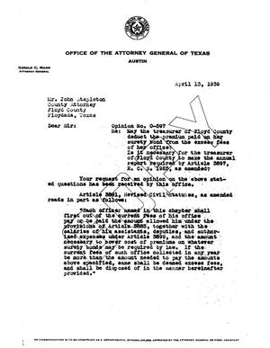 Primary view of object titled 'Texas Attorney General Opinion: O-597'.