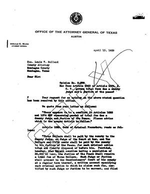 Primary view of object titled 'Texas Attorney General Opinion: O-599'.