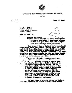Primary view of object titled 'Texas Attorney General Opinion: O-603'.
