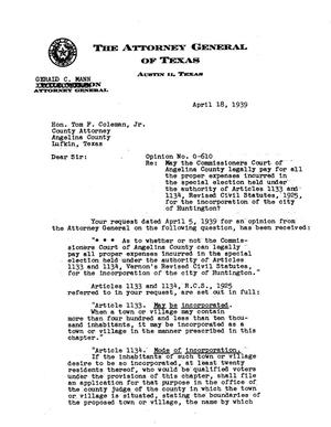 Primary view of object titled 'Texas Attorney General Opinion: O-610'.