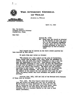 Primary view of object titled 'Texas Attorney General Opinion: O-612'.