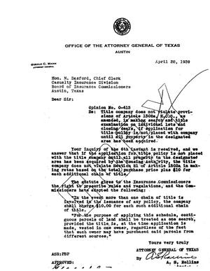 Primary view of object titled 'Texas Attorney General Opinion: O-613'.