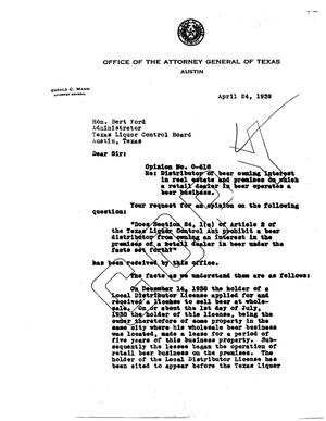 Primary view of object titled 'Texas Attorney General Opinion: O-618'.