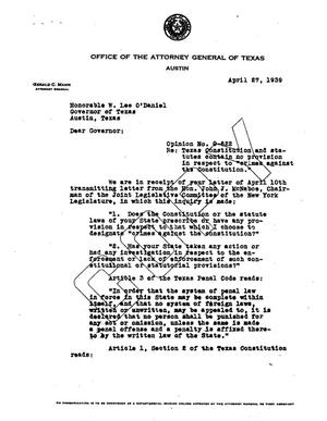 Primary view of object titled 'Texas Attorney General Opinion: O-622'.