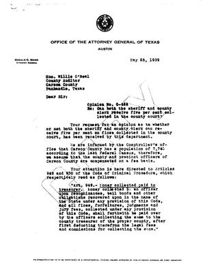 Primary view of object titled 'Texas Attorney General Opinion: O-626'.