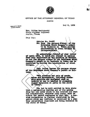 Primary view of object titled 'Texas Attorney General Opinion: O-627'.