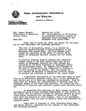 Primary view of object titled 'Texas Attorney General Opinion: O-705'.