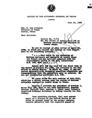 Primary view of object titled 'Texas Attorney General Opinion: O-711'.