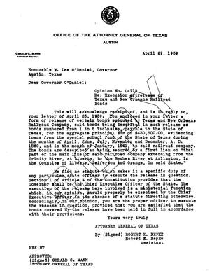 Primary view of object titled 'Texas Attorney General Opinion: O-712'.