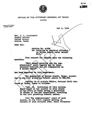 Primary view of object titled 'Texas Attorney General Opinion: O-716'.