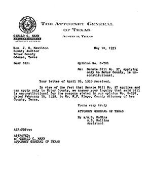 Primary view of object titled 'Texas Attorney General Opinion: O-721'.