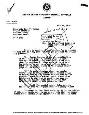 Primary view of object titled 'Texas Attorney General Opinion: O-722'.