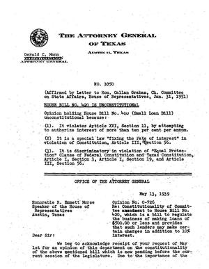 Primary view of object titled 'Texas Attorney General Opinion: O-726'.