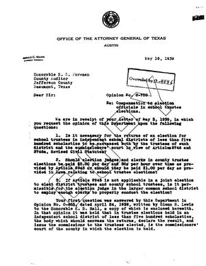 Primary view of object titled 'Texas Attorney General Opinion: O-750'.
