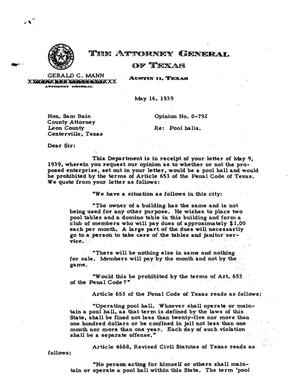 Primary view of object titled 'Texas Attorney General Opinion: O-792'.
