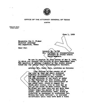 Primary view of object titled 'Texas Attorney General Opinion: O-798'.