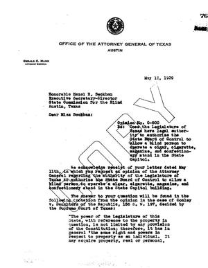 Primary view of object titled 'Texas Attorney General Opinion: O-800'.