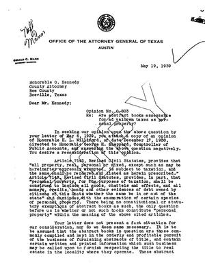 Primary view of object titled 'Texas Attorney General Opinion: O-803'.