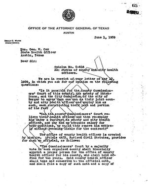 Primary view of object titled 'Texas Attorney General Opinion: O-816'.