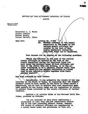 Primary view of object titled 'Texas Attorney General Opinion: O-822'.