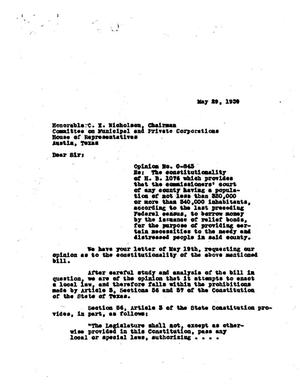 Primary view of object titled 'Texas Attorney General Opinion: O-843'.