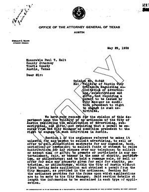 Primary view of object titled 'Texas Attorney General Opinion: O-848'.