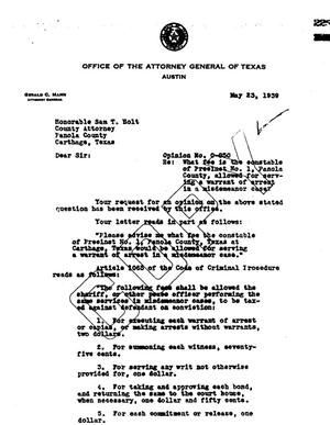 Primary view of object titled 'Texas Attorney General Opinion: O-850'.