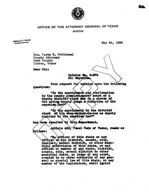 Primary view of object titled 'Texas Attorney General Opinion: O-875'.