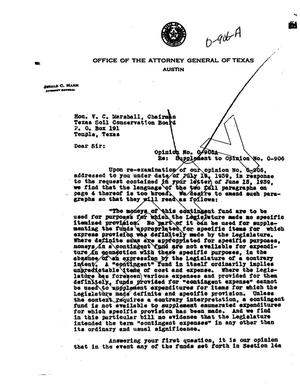 Primary view of object titled 'Texas Attorney General Opinion: O-906A'.