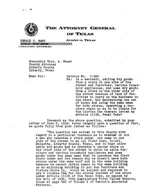 Primary view of object titled 'Texas Attorney General Opinion: O-920'.