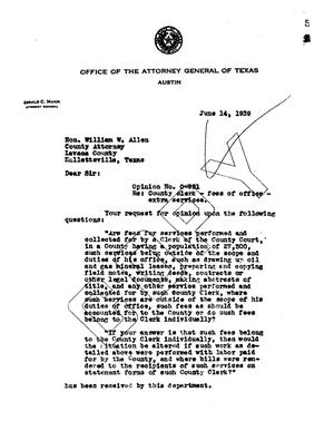 Primary view of object titled 'Texas Attorney General Opinion: O-921'.