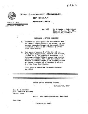 Primary view of object titled 'Texas Attorney General Opinion: O-924'.