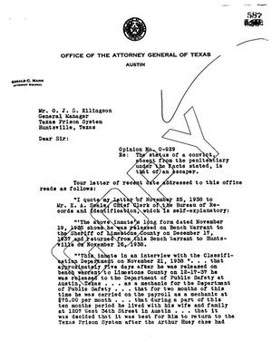 Primary view of object titled 'Texas Attorney General Opinion: O-929'.