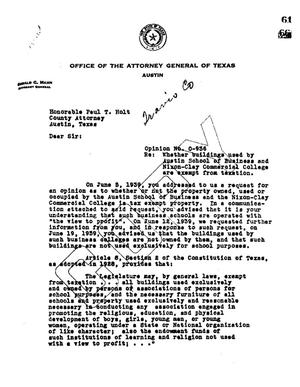 Primary view of object titled 'Texas Attorney General Opinion: O-936'.